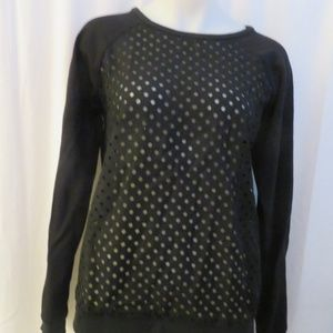 TIBI BLACK MESH PULLOVER SWEATER TOP SIZE S